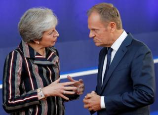 İngiltere Başbakanı Theresa May ve AB Konseyi Başkanı Donald Tusk