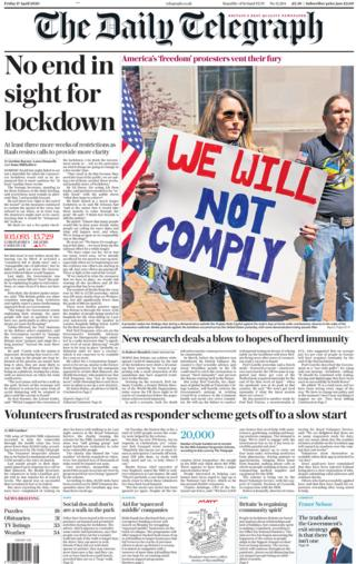 Daily Telegraph front page, 17/4/20