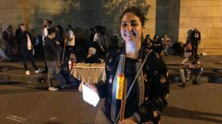 Lara Kais at a protest camp outside the headquarters of EDL in Beirut, Lebanon