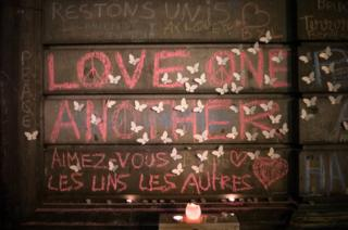 Messages written on a wall at Place de la Bourse, Brussels