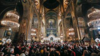 Богослужение во Владимирском кафедральном соборе в Киеве