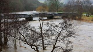 The River Tweed busts its banks in the Scottish Borders