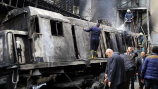 Firefighters put out a blaze at Ramses Station in Cairo, Egypt (27 February 2019)
