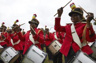 Drummers in the grounds of the presidential palace in Kinshasa, DR Congo - Thursday 24 January 2019