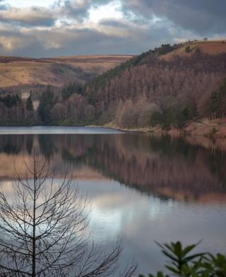 Derwent Reservoir reflected in water