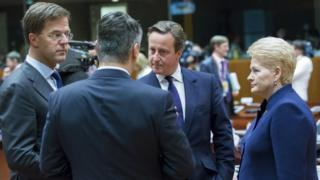 David Cameron speaking to other EU leaders