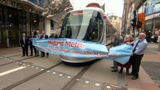 Tram launched from New Street Station