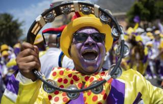 "South African members of the Cape Minstrel bands attend the annual ""Tweede Nuwe Yaar"" (second new year) carnival through the streets of Cape Town, South Africa, 02 January 2019."