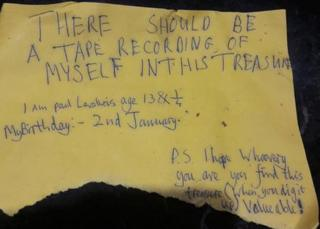 'There should be a tape recording of myself in this treasure'
