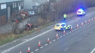 Police at the scene of the A55 crash near Abergele