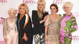 June Whitfield, Jennifer Saunders, Joanna Lumley, Julia Sawalha and Jane Horrocks in 2016