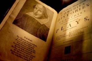 Fourth folio pages with Shakespeare engraving