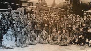 Grupo de kamikazes japoneses durante la Segunda Guerra Mundial. (Foto: Osamu Yamada)