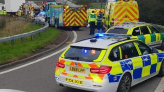 Scene of crash on M62 slip road
