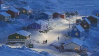 बर्फ़ से ढंका मछुआरों का गांव