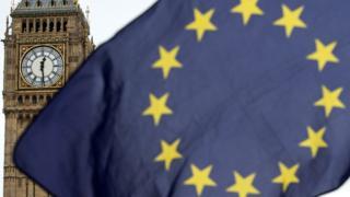 Europe flag outside parliament