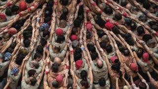 """""""Castellers"""" build a human tower"""