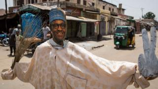 A makeshift figure of Muhammadu Buhari during elections in Nigeria in 2015
