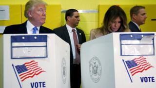 Donald Trump and his wife Melania Trump vote at PS 59 in New York, (November 8, 2016)