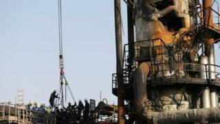 Damaged oil facilities at Abqaiq in Saudi Arabia