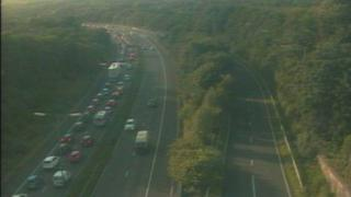 Traffic queuing after crash at junction 45