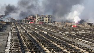 Scene of explosions in Tianjin. 13 Aug 2015