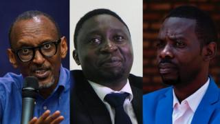From left to right: Paul Kagame, Frank Habineza and Philippe Mpayimana