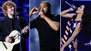 Ed Sheeran, Drake and Katy Perry