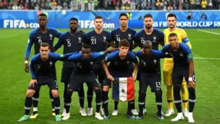 Seleção da França na semifinal contra a Bélgica na Copa do Mundo da Rússia