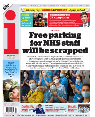 The i newspaper front page