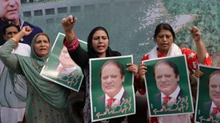 Women supporting Nawaz Sharif pictured in Lahore on 13 July