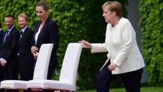 Angela Merkel with Danish Prime Minister Mette Frederiksen on 11 July