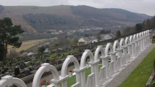 The graves of the victims of the Aberfan disaster in the village's cemetery