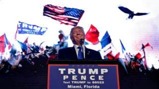 El candidato republicano a la presidencia de Estados Unidos, Donald Trump, durante un mitin en Miami, Florida, EE.UU., el viernes 16 de septiembre de 2016.