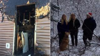 Marcy Smith, her children and their burned home
