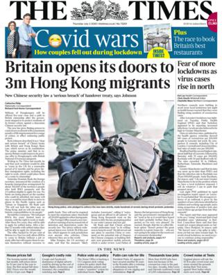 Times front page 02.07.20