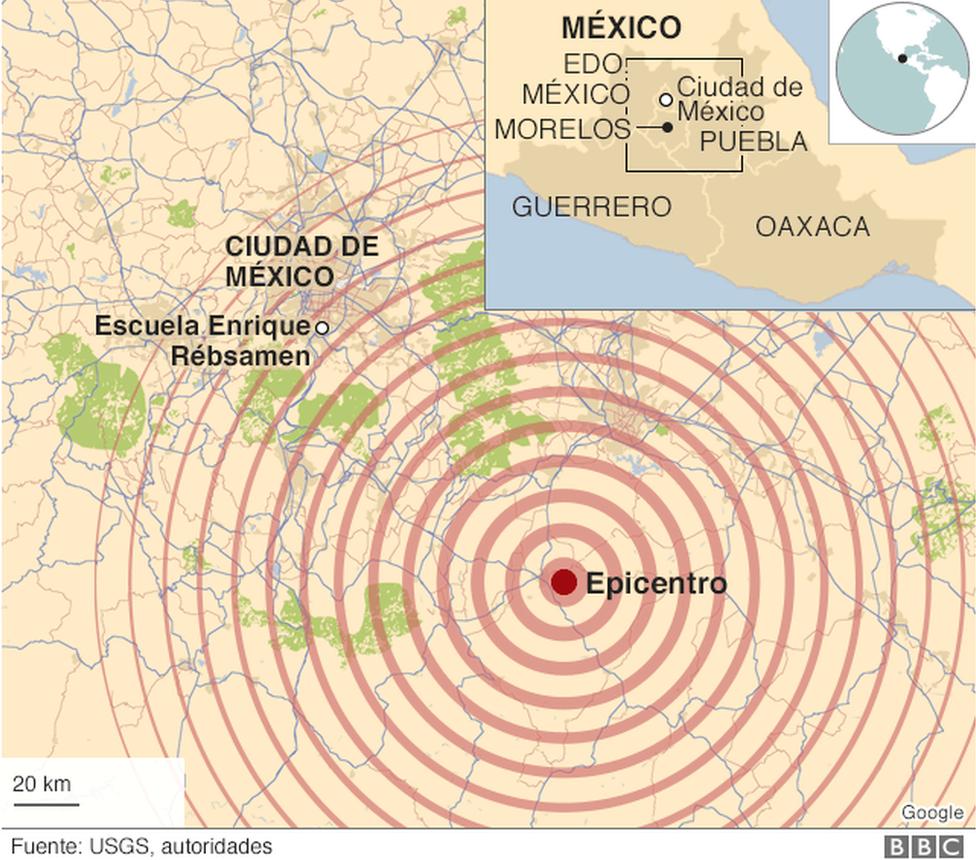 Mapa del epicentro del terremoto del 19 de septiembre en México.