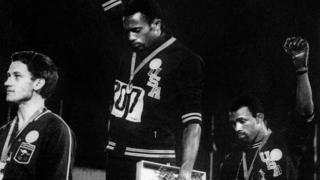The Black Power salute delivered on the medal podium at the 1968 Olympics