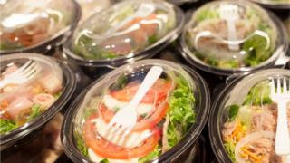 salads in plastic pots