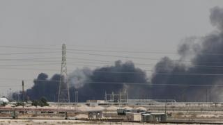 Smoke rises from Abqaiq oil processing plant in Saudi Arabia on 14 September 2019