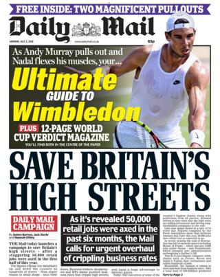 Daily Mail front page - 02/07/18