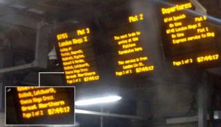Departure board at Cambridge station