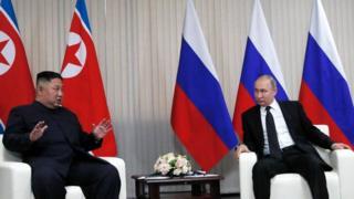 김정은 국무위원장과 블라디미르 푸틴 대통령