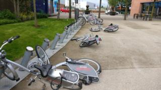 Belfast Bike vandalism at C S Lewis Square in east Belfast
