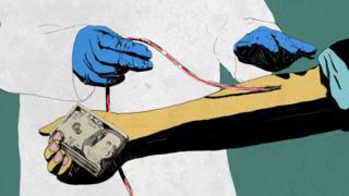 Ilustración de una persona que está donando sangre a cambio de dinero.