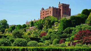 Powis Castle in Welshpool in the sunshine