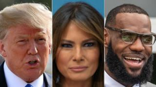 From left to right: Donald Trump, Melania Trump, LeBron James