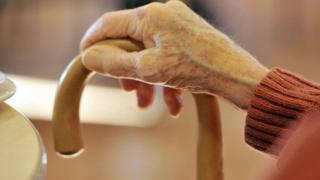 View of an elderly person's hand