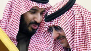 Vəliəhd Məhəmməd bin Salman (solda) və şahzadə Məhmməd bin Nayif (sağda)