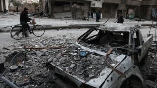 Razrušene ulice Istočne Gute u Siriji (25. februar 2018. godine)